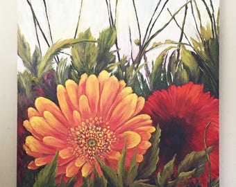 Flower Oil Painting, Large flower oil painting, botanical painting, Flower gallery wrap oil painting, flower painting, daisy oil painting