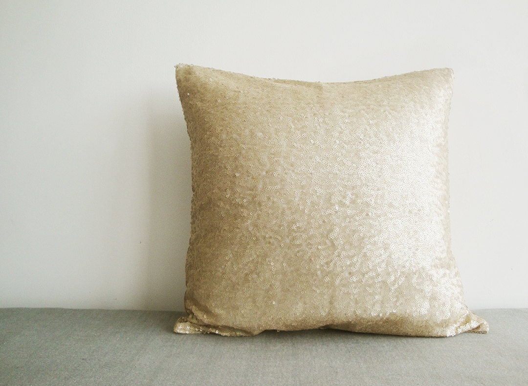 Light Gold Sequin Pillow Cover Matt Beige Sequin Pillow