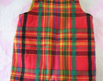 Cute for Christmas Vintage Boys Red Multi Color Plaid Short Overalls