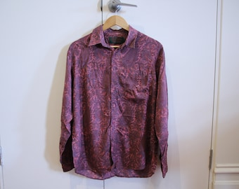 Sz Medium Purple Paisley Rayon Shirt