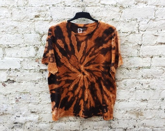 Tie Dye Shirt Bleach Dye Hippie Tshirt Unisex T-shirt All Sizes Available Black & Orange Festival Clothing Trippy Psychedelic Mens Clothing