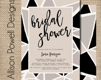 Modern Bridal Shower, Bridal Luncheon, Abstract, Black, Tan - Print your own