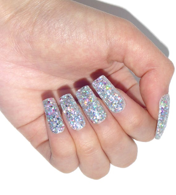 Holographic Glitter Jewelry Nails Fake nails press on
