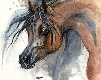 Bay arabian horse, equine art, equestrian, original pen and watercolor painting