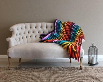 Super bulky blanket, throw blanket, throw afghan, knit throw blanket, colorful blanket, statement decor, wedding present, housewarming gift