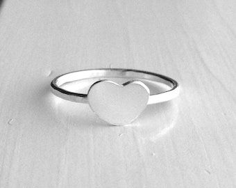 Sterling Silver Chubby Heart Ring, Heart Stacking Ring, Heart Stackable Ring, Sterling Silver Stacking Rings, Heart Jewelry, Heart Ring
