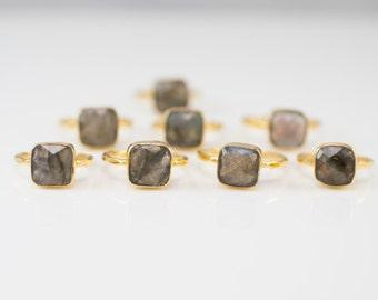 40 0FF - Labradorite Ring - Statement Ring - Gemstone Ring - Gold Ring - Stackable rings - Bezel Set Ring - Cushion Cut Ring