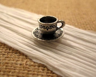 Cup of Coffee Charm from Quest Beads and Cast in Antique Pewter