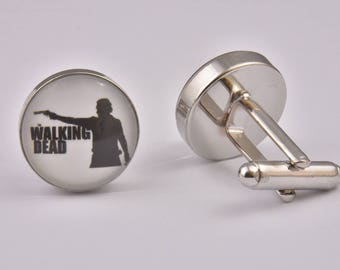 The Walking Dead TV Custom Cufflinks Zombie Horror Unique Exclusive Cool Silver Wedding Prom Black Tie Gift Jewellery Accessories Men