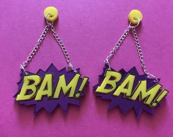 Bam Dangle earrings - laser cut acryluc