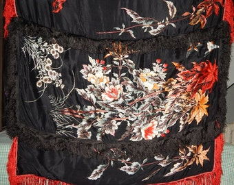 Antique Chinese Silk Hand Embroidered Wall Hanging Birds and Flowers Textile Art (111)