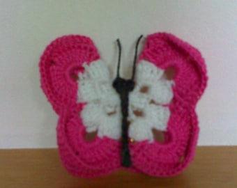 set of 3 butterflies handmade fuchsia pink and white cotton crochet