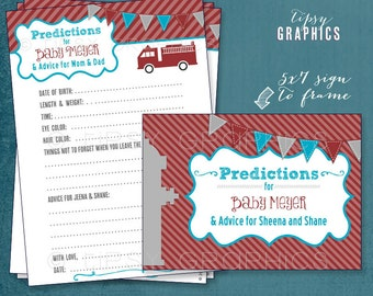 Sound the Alarm. Firetruck Baby Predictions by Tipsy Graphics. Madlib. AdLib. Baby Wishes. Baby Statistics. Printable Cards, any Colors.