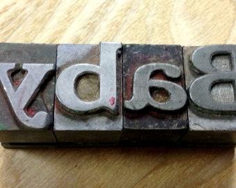 Vintage BABY Letters Metal Letterpress Printers Blocks
