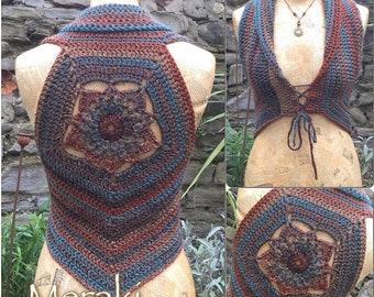 Crochet Waistcoat, Crochet Vest, Crochet Top, Boho Vest, Shrug, Festival Wear, Pixie Top, Gift For Her,