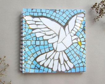 Square Dove Notebook with Blank Pages ~ spiral bound ~ dove ~ bird lover gift ~ gift under 5 pounds ~ Sale ~ Discounted Item ~ Slight Damage