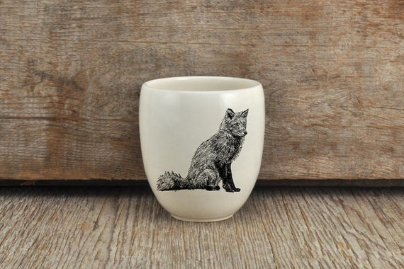 Handmade Porcelain coffee tumbler with red fox drawing Canadian Wildlife collection