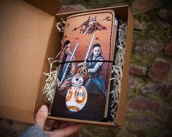 Star Wars Gift - Star Wars Art - Travelers Notebook - Rey Finn BB8 - Hand Painted Unique Leather Journal Regular Travelers Notebook Size