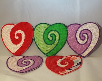 Swirly heart coaster/party favor that can be personalized and customized