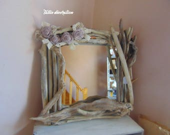 mirror, driftwood, fabric flowers