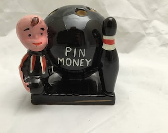 Vintage 1960s Pin Money Bank with Bowler with Pin and Bowling Ball