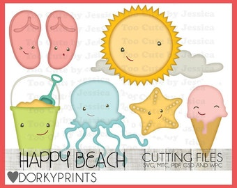 Beach Cuttable Files -For Use with Cutting Machines - Happy Summer svg, mtc, pdf, gsd, and wpc files, Beach SVG