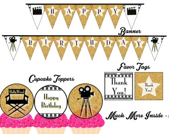 Hollywood Birthday Printable Party Package, Instant Download, DIY, PDF