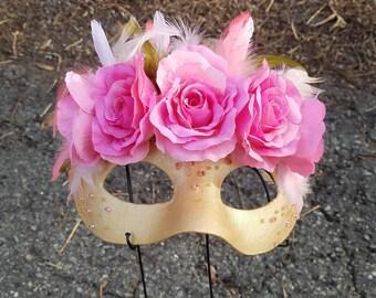 Pink Rose Golden Masquerade Mask Fantasy Wedding Mask