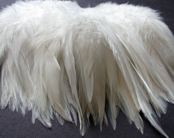 Rooster Saddle Hackle Feathers - Natural White