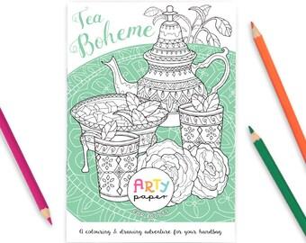 Tea Boheme- Adult Colouring Book (A5)