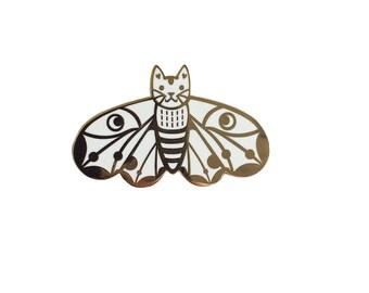 Moth Cat Enamel Pin -  cat enamel pin - Moth pin Moth enamel Pin Butterfly enamel pin White enamel pin - lapel pin hat pin
