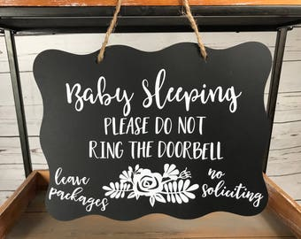 Baby Sleeping Sign/No Soliciting Sign/Rustic Baby Sleeping Sign