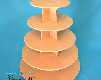 5 tier cupcake stand, made of mdf wood, round shape, easy handling, great for parties, weddings