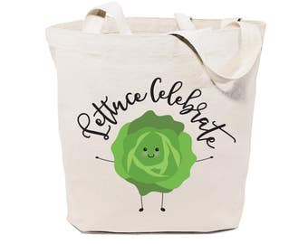 Lettuce Celebrate! Cotton Canvas Reusable Grocery Bag and Farmers Market Tote Bag, Food Pun, Shopping, Women's Gift, Funny Gifts for Her