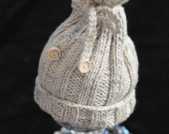 Hat/bonnet Pixie DrawString for baby 0-1 month, Grey Heather beige