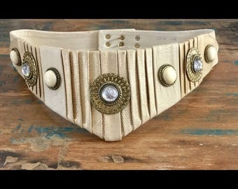 1980s Nina Arjani Leather-rock Belt