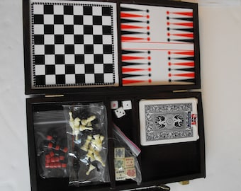 Small Backgammon Chess Checkers Poker Dice Cards Set  (1472)