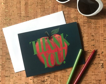Thank You Teacher | Hand-Lettered | Apple Green | Midcentury Lettering | Big Apple with Stem and Leaf Thank You Card