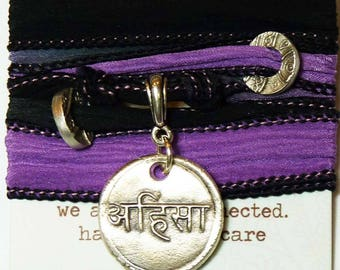 Sanskrit Ahimsa Do No Harm Silk Bracelet Yoga Boho Festival Jewelry