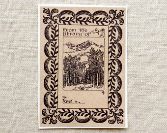 mountain forest bookplates - woodland book plates -ex libris - bookplate stickers - masculine bookplate - gift for him - bookworm under 20