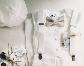 100% linen boys Baptism White linen vest bodysuit with white/blue/beige or grey bow tie and linen trousers or shorts and optional extras
