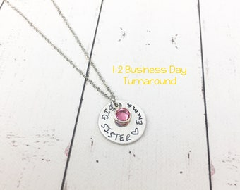 Big Sister Necklace - Big Sister Gift - Gift for Big Sister - New Sibling - New Sister - Personalized Sister Necklace -Hand Stamped Necklace