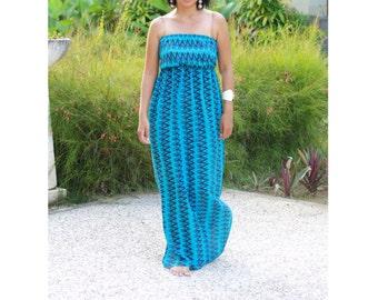 Women's Chevron Dress, Summer Dress, Blue chevron, rayon dress, sundress