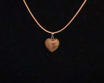 Crystal Brownish tones Chakra Heart Stone Pendants Charm Necklace