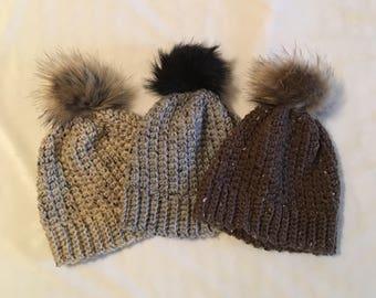 Women's Hat with Faux Fur Pom