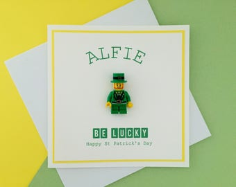 Personalised Good Luck Card - St Patricks Day / Good Luck - Lego Minifigure