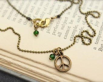 Peace Sign Hippie Love Green Charm Necklace