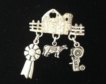 Farm Queen or Princess Pin Brooch or Pendant Necklace with Dairy Cow Tractor Ribbon From Barn All Sterling Silver 925 Livestock Farm 4H FFA