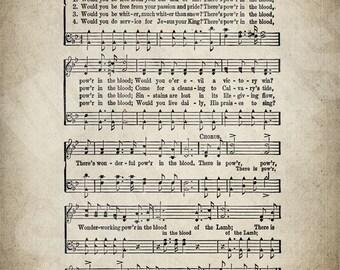 There Is Power In The Blood Hymn Print - Sheet Music Art - Hymn Art - Hymnal Sheet - Home Decor - Music Sheet - Print - #HYMN-P-009