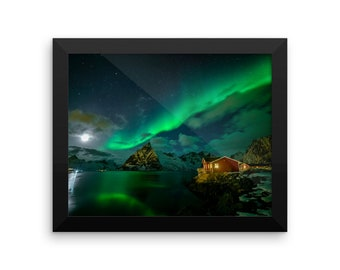 Northern Lights Over A Red House With Reflection Wall Art / Framed Poster